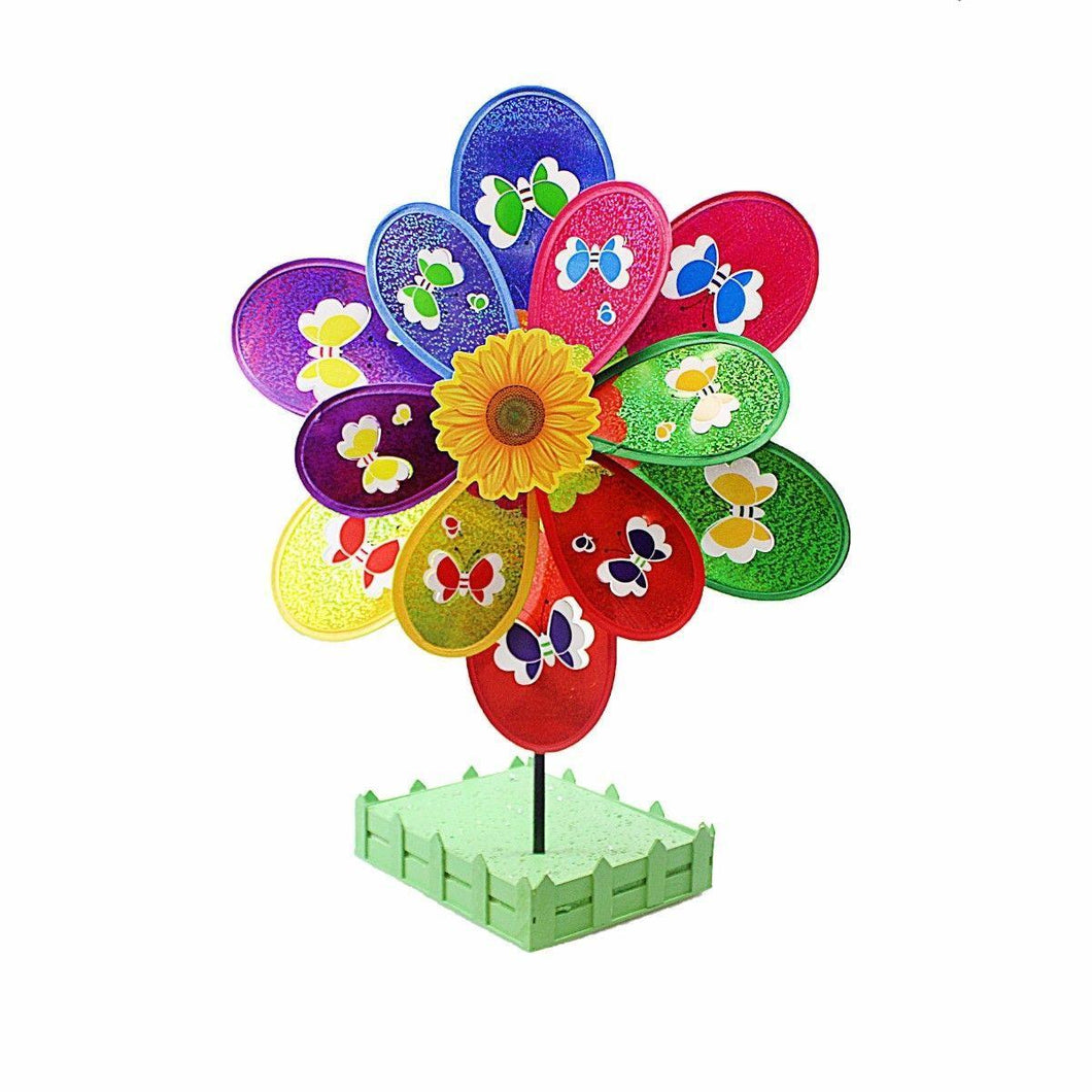 Beautiful FLORAL Multicolour Windmill Wind Spinning Wheeling Wheel    2113 (Parcel Rate)