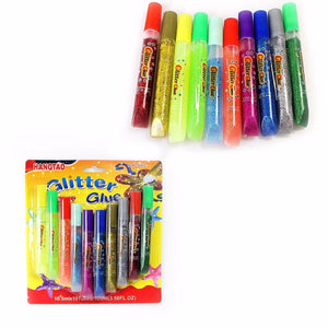 10 Glitter Glue Pens Assorted Colours Arts & Craft 2844 (Large Letter Rate)