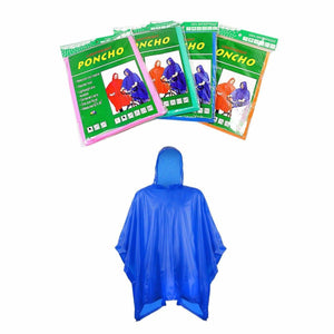 Assorted Colour Raincoat Lightweight PONCHO 100% Waterproof Raincoat 52'' x 80'' Outdoors 4838 (Large Letter Rate)
