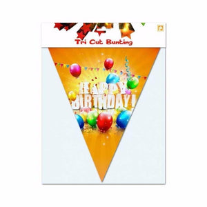 Happy Birthday Tri Cut Bunting 12 Flags Metallic Banner Ideal For Birthdays 4069 (Large Letter Rate)