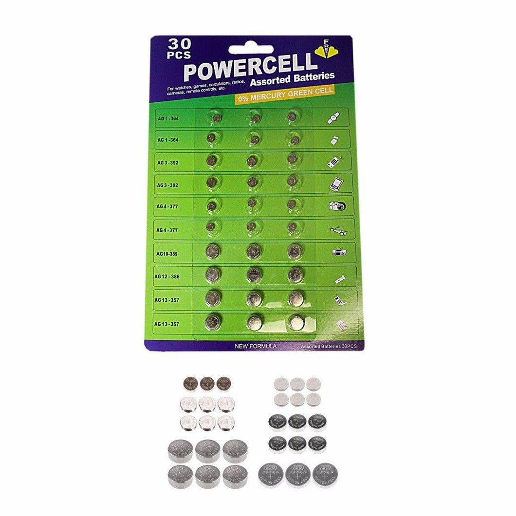 30 Pack Power Cell Assorted Batteries For Watches, Games, Calculators etc   Bat0007 (Large Letter Rate)