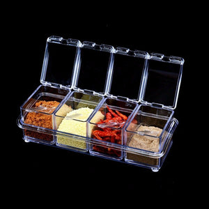 Crystal Clear Seasoning Box Acrylic Spice Rack Storage Container Condiment Jars 4477 (Parcel Rate)