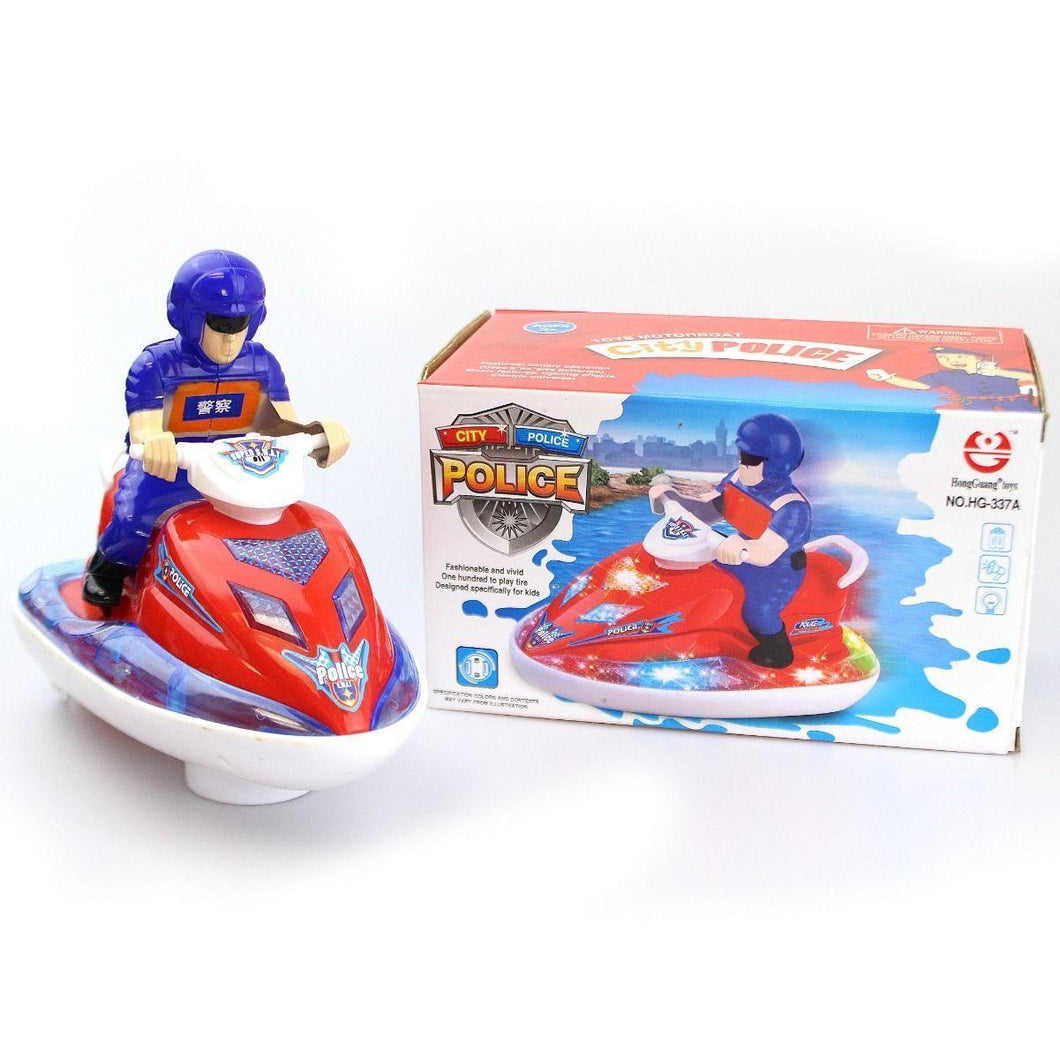 Kids Light & Sound Super Swat Police Speedboat Uses 3AA Batteries Age 3+ 4127 (Parcel Rate)