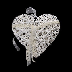 Heart Straw Wooden Hanging Heart Garland Home Decor/Funeral Decor 24cm 3545 (Parcel Rate)