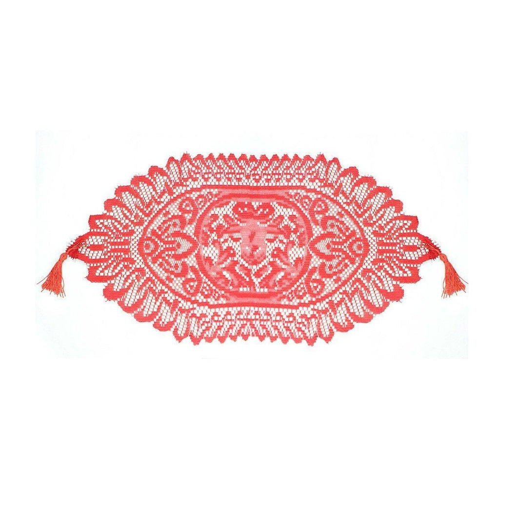 Beautiful Kitchen Tableware Lace Style Rich Red Table Mat Approx 70cm Home 2851 (Parcel Rate)