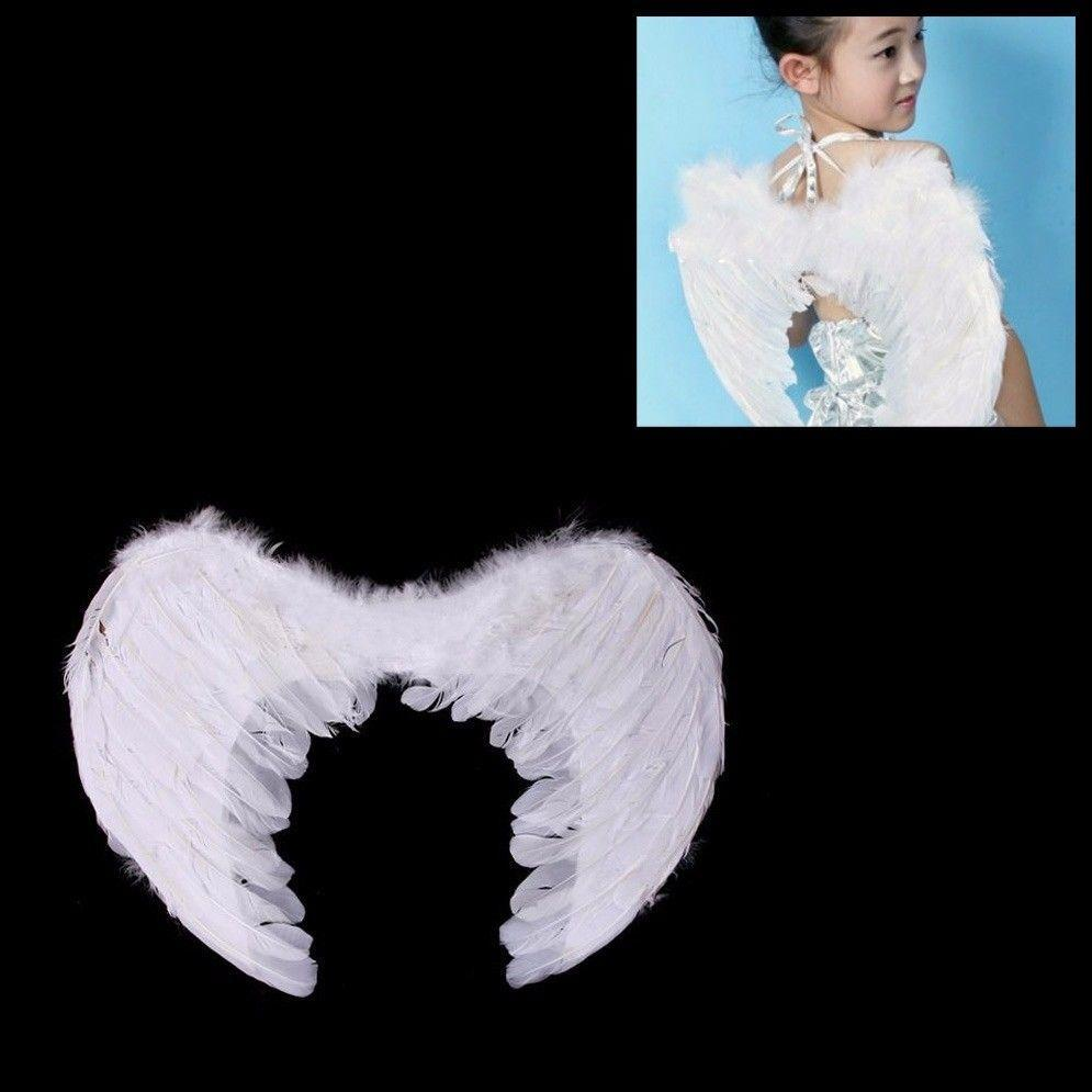 Fancy Dress Up Angel Feathered Wings With Elastic Straps 50cm 1482 (Parcel Rate)