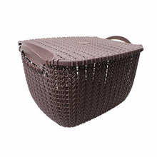 Load image into Gallery viewer, Rattan Style Square Multi Use Fruit Storage Basket With Lid 29cm x 18cm  4841 (Parcel Rate)
