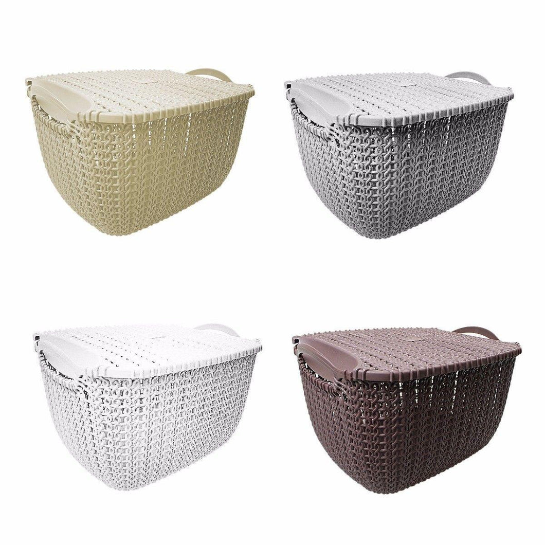 Rattan Style Square Multi Use Fruit Storage Basket With Lid 29cm x 18cm  4841 (Parcel Rate)