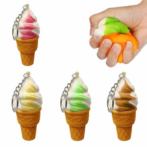 Squeezy Soft Ice Cream Keyring Toy, Stress Relief Squeezy Keyring  4846 (Large Letter Rate)