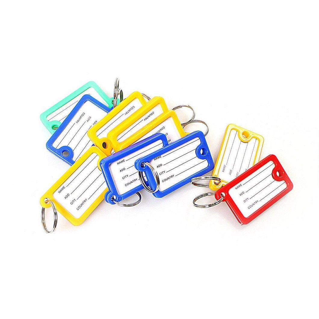 Pack of 10 Stationary Keyring Tag Set Assorted Colours  3024 (Large Letter Rate)