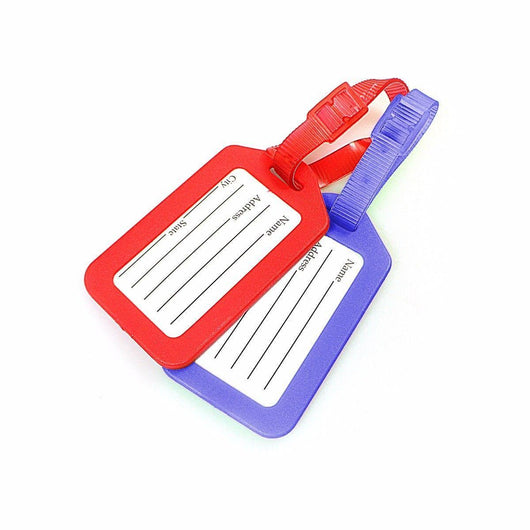 Pack of 2 Large Keyring Name Tags 9cm x 5cm Assorted Colours