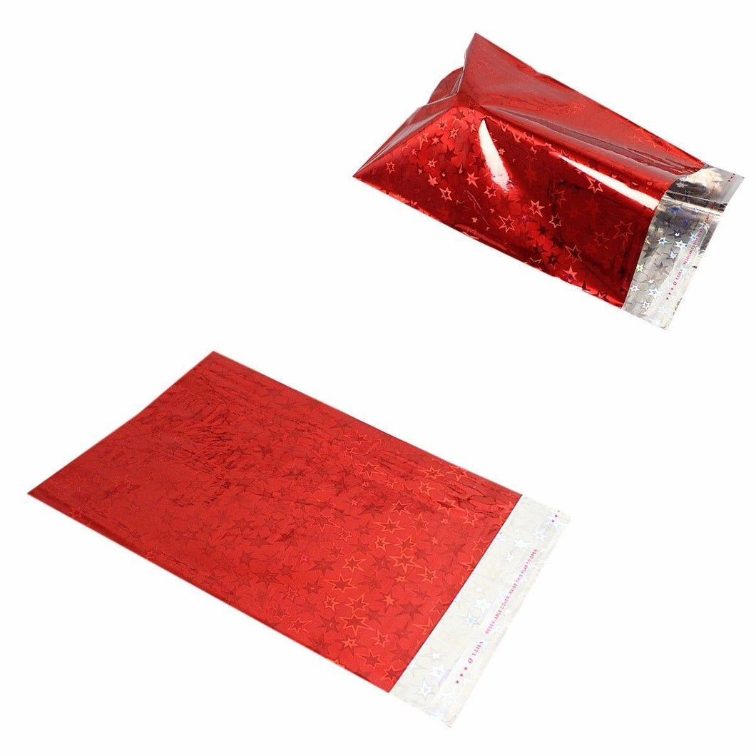 Rich Red Star Designed Shiny Gift Bag Envelope 16 x 22 Pack of 7   4912 (Large Letter Rate)
