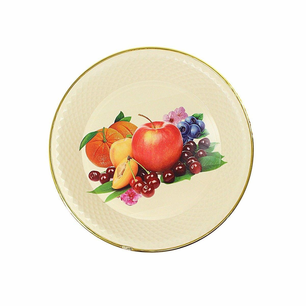 Round Plastic Kitchen Plate Rattan Style Pate Floral Print 33cm  4886 (Parcel Rate)