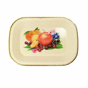 Rectangle Plastic Kitchen Plate Rattan Style Floral Print 32cm x 22cm  4889 (Parcel Rate)