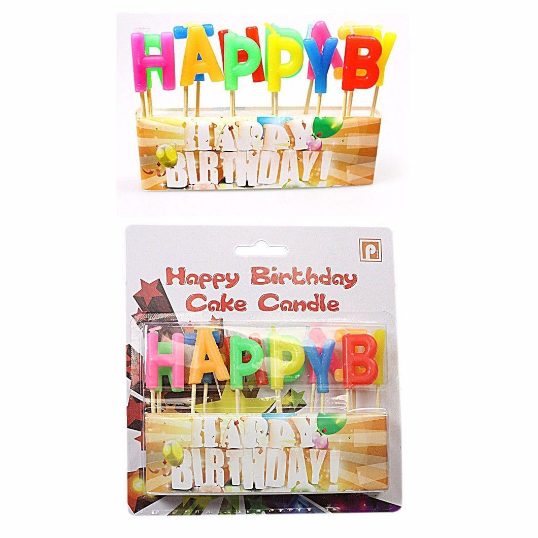 13pc Happy Birthday Candle Set Cake Celebration Party Decoration Coloured Letter 0235 (Large Letter Rate)