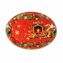 Load image into Gallery viewer, Oval Shaped Christmas Rich Red Plastic Plate/ Tray 28cm x 38cm   4786 (Parcel Rate)