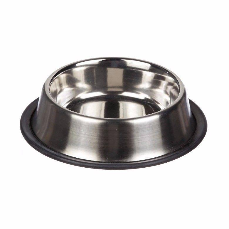 Steel Pet Bowl Dog Feeding Bowl Steel Small Size Approx Ideal For Dogs 18cm 3044 (Parcel Rate)