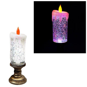 Sequinned LED Candle Beautiful Christmas Candle Nightlife Battery Operated   4721 (Parcel Rate)