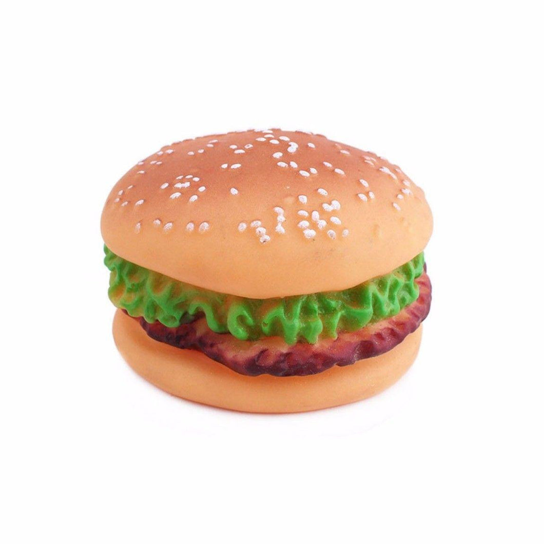 Squeezy Silicone Hamburger Pet Puppy/Dog Chew Toy 0047 (Parcel Rate)