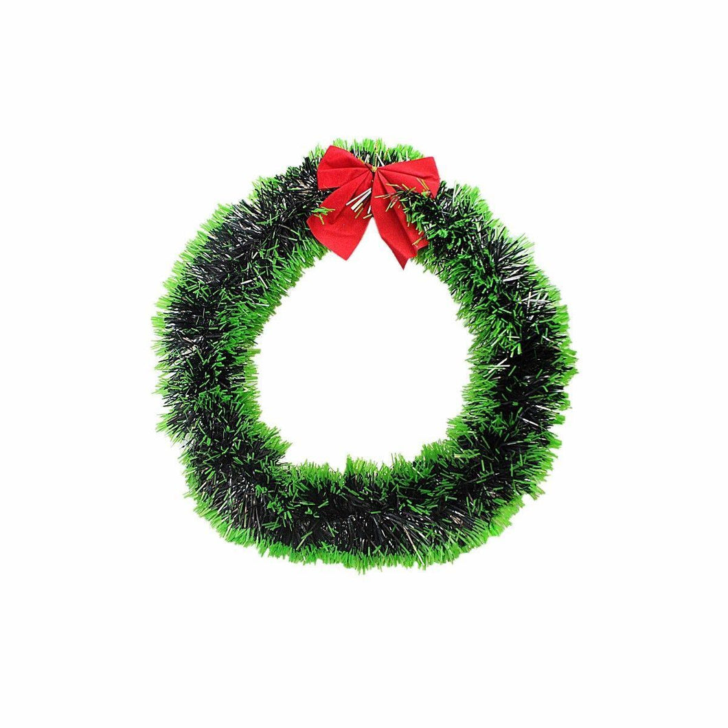 Novelty Christmas Tree Tinsel Door Hanging Garland With Ribbon 25cm 4451 (Parcel Rate)