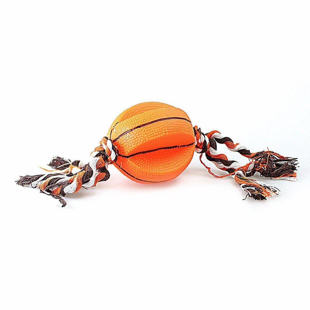 Dog/Puppy Squeeze Volleyball/Basket Ball Toy With Rope Thread,Gum & Teeth Health   4611 (Parcel Rate)