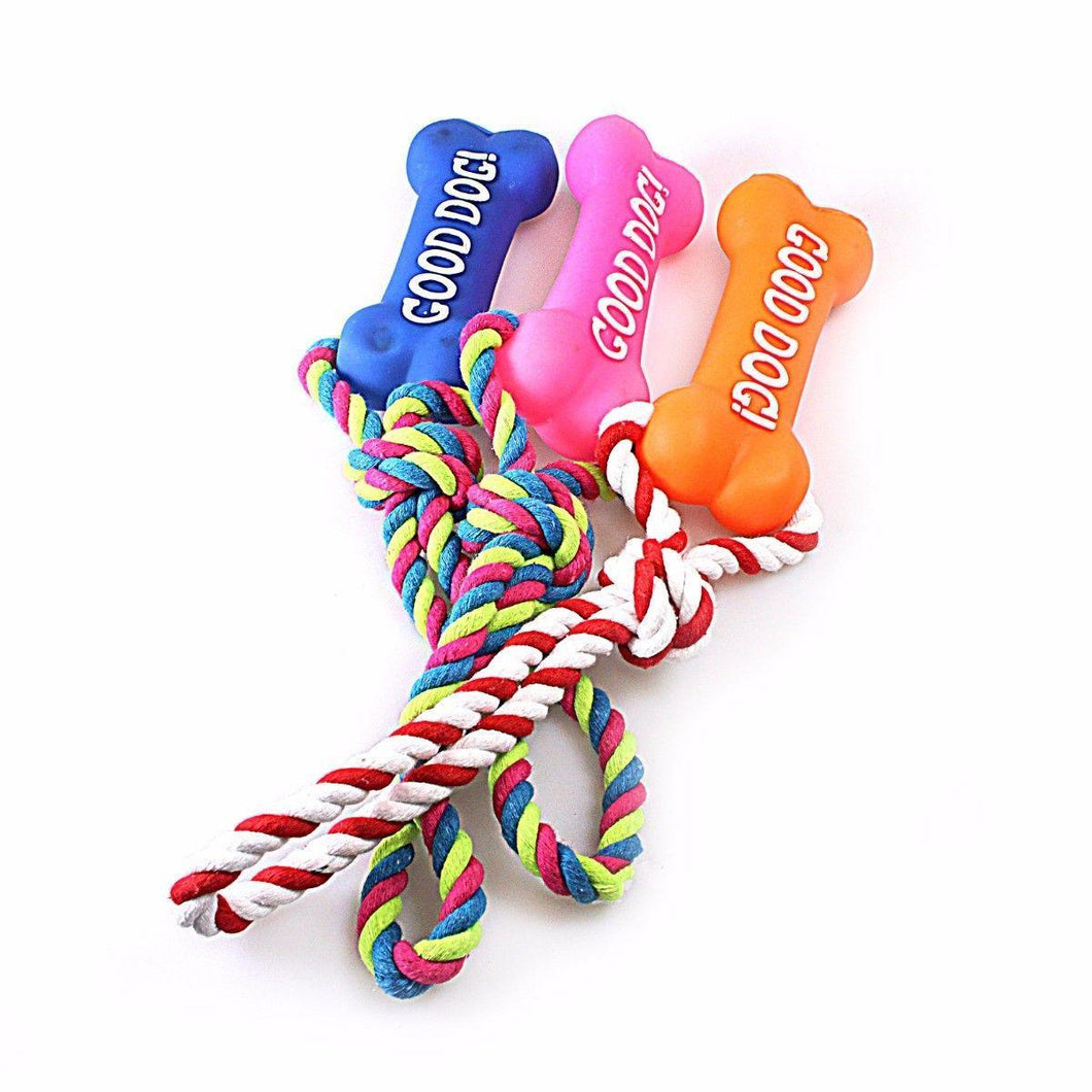 Cute Dog/Puppy Bone Toy 'Good Dog' Rope Chewing Squeezable Toy Pet 4609 (Parcel Rate)