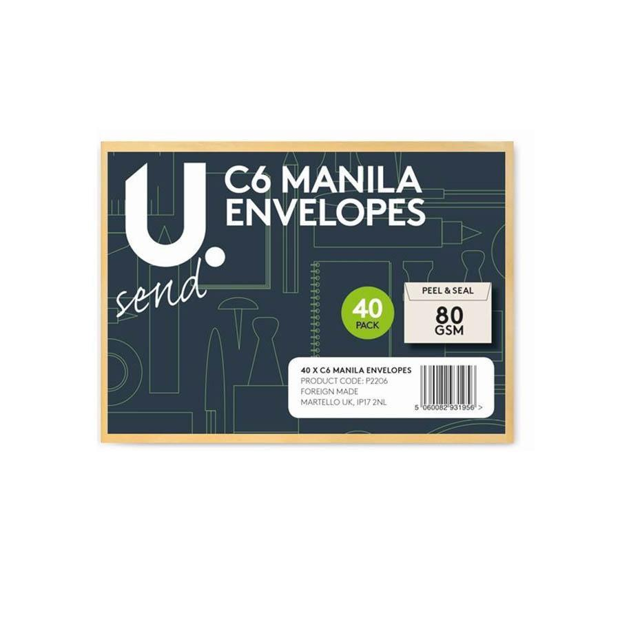 40 Pack Manila C6 Envelopes Office Home School Use Peel And Seal   P2206 (Parcel Rate)