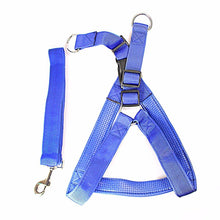 Load image into Gallery viewer, Heavy Duty Dog Big Nylon Belt With Harness Attached In Blue and Red  0056 (Large Letter Rate)