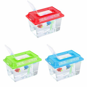 Plastic Starter Aquarium Fish Tank Reptile Insect Goldfish Cage Carry Handle Lid 0090 (Parcel Rate)