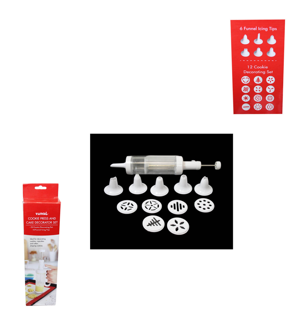 Cookie Press and Cake Decorator Set, 12 Cookie Decor Set, 6 Icing Funnels 4160 (Parcel Rate)