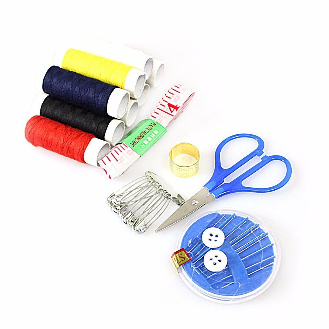 Pack Of Assorted Colour Cotton Reels With Needles Scissors Tape Safety Pins Buttons 4108 (Parcel Rate)
