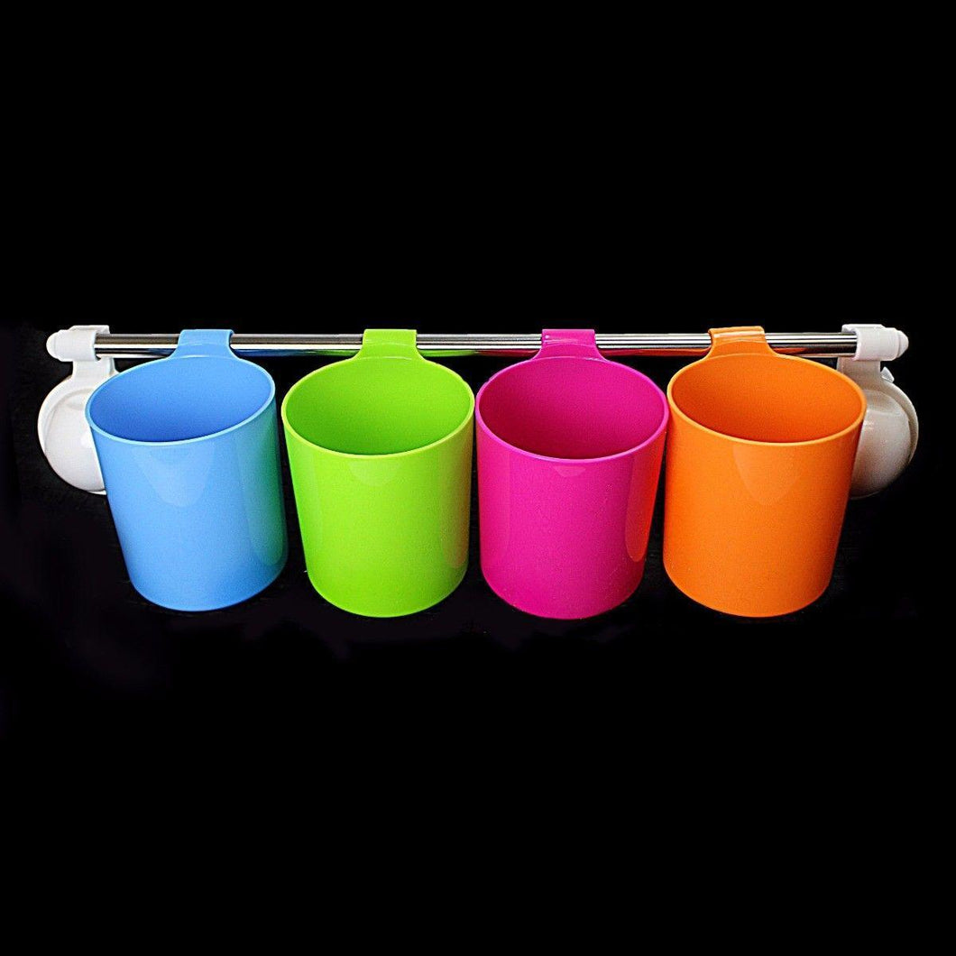 4 Cup Handy Cup In Assorted Colours Rack With Suction Cap 50cm Long 0843 (Parcel Rate)