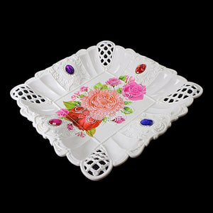 Floral Jewelled Design Plastic Serving Tray 23cm   3220 (Parcel Rate)