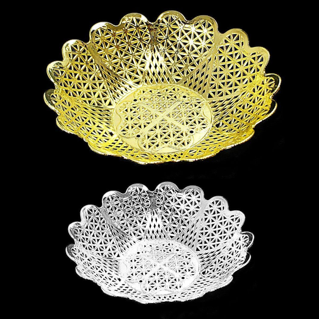 Gold and Silver Plated Plastic Baskets for Multipurpose Use 16.5cm  3441 (Parcel Rate)