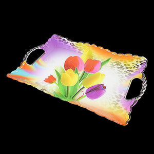 Plastic Printed Floral Print Serving Tray 37cm x 25.5cm 0725 (Parcel Rate)