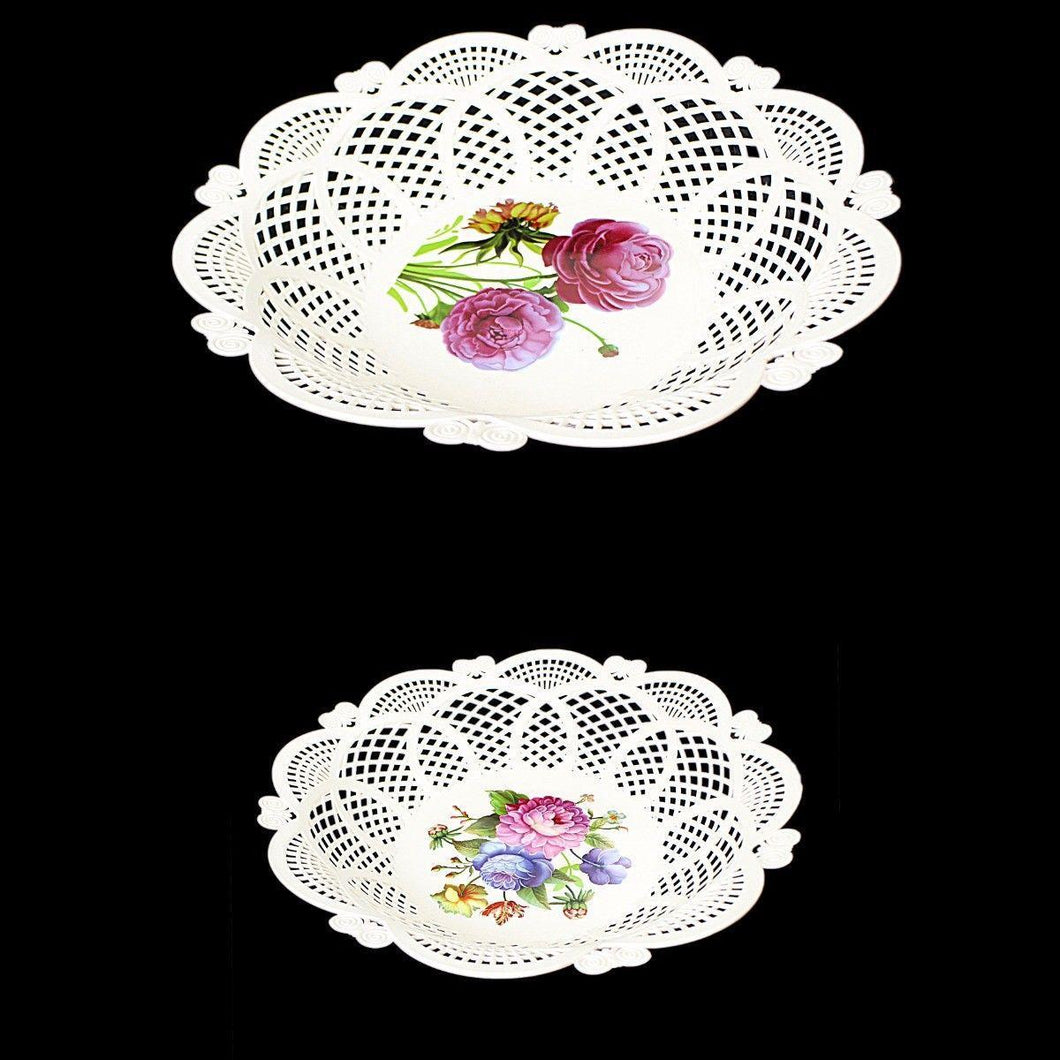 Fancy Floral Printed Round Plastic Serving Tray 29cm  3215 (Parcel Rate)