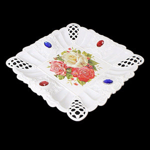 Floral Jeweled Designed Plastic Tray Square 18.5cm (Parcel Rate )
