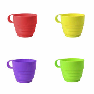 Pack Of 4 Assorted Colour Plastic Cups 8cm x 7cm  3911 (Parcel Rate)