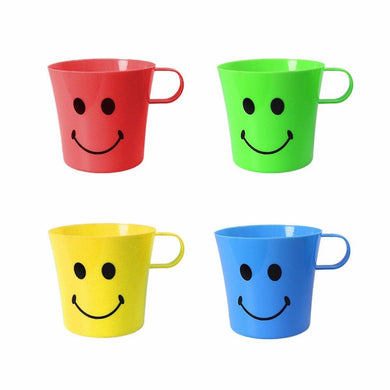 Fun 4 Colour Smiley Plastic Handles Mugs For Parties, Home etc   0438 (Parcel Rate)