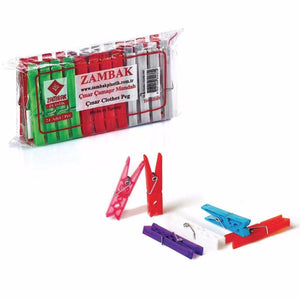 Zambak Assorted Colour Plastic Washing Pegs 24 Pack 8cm  4037 (Parcel Rate)