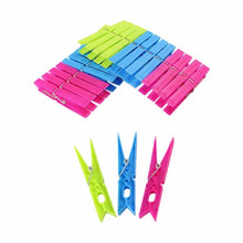 Load image into Gallery viewer, Assorted Colour Basic Plastic Washing Pegs 24 Pack  7.5cm  6055 (Parcel Rate)