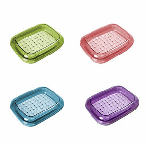 Plastic Crystal Soap Box In Assorted Colours 12cm x 10cm 3682 (Parcel Rate)
