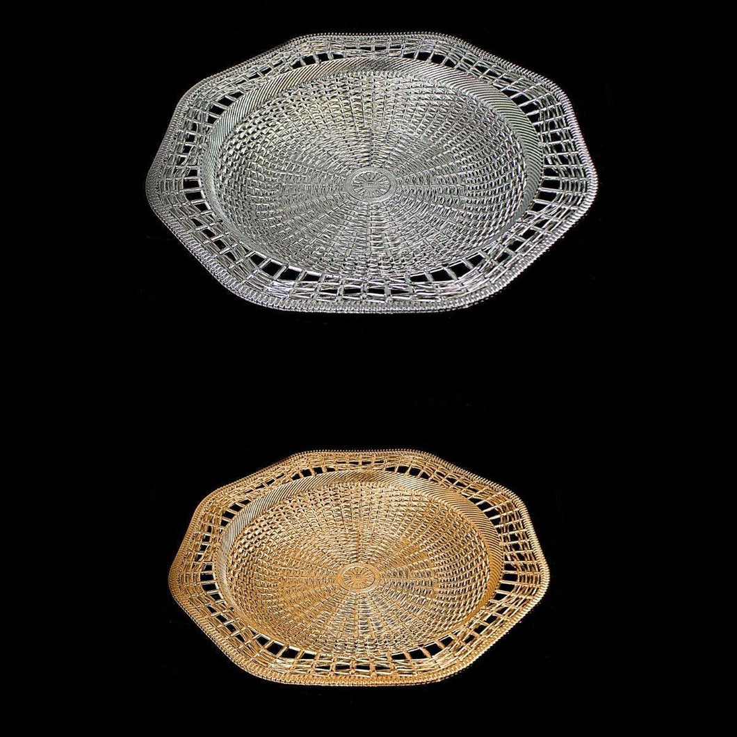 Plastic Rattan Styled Designer Tray Ideal For Snacks 28.5cm Kitchen 0728 (Parcel Rate)
