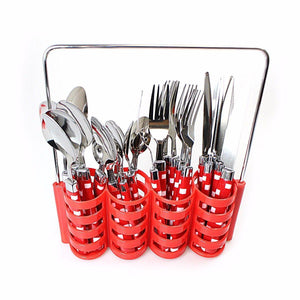 24PC Cubed Design Stylish Stainless Steel Cutlery Set In Steel Holding Rack  4186 (Parcel Rate)