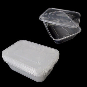 5 Hygienic Rectangular Stackable Food & Meal Preparation Containers With Lids 7015 (Parcel Rate)