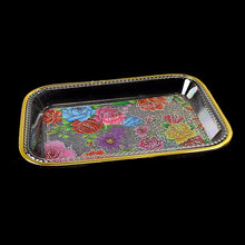 Load image into Gallery viewer, Large Plastic Gold Rimmed Floral Tapestry Design Tray Approx 22cm x 15cm 0730 (Parcel Rate)