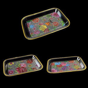 Large Plastic Gold Rimmed Floral Tapestry Design Tray Approx 22cm x 15cm 0730 (Parcel Rate)