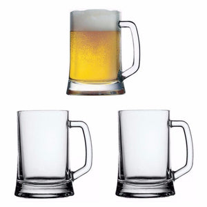 Set Of 2 High Quality Classic Heavy Duty 660ml Big Bear Glass Mugs Home Glassware 5286 (Parcel Rate)