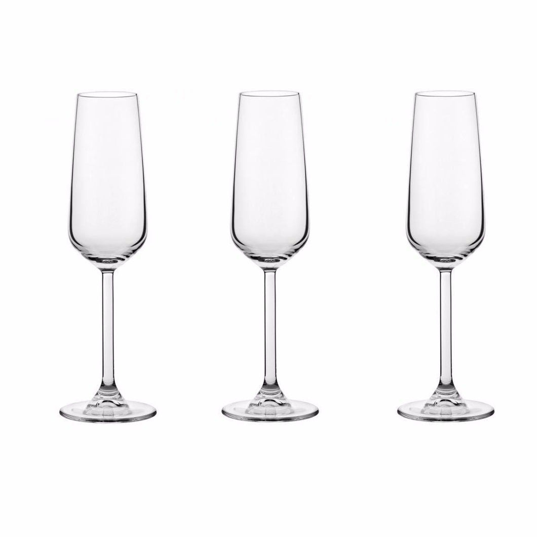 Pack Of 3 Allegra Champagne Glass Drinking Glasses 195ml Home 440079 (Parcel Rate)