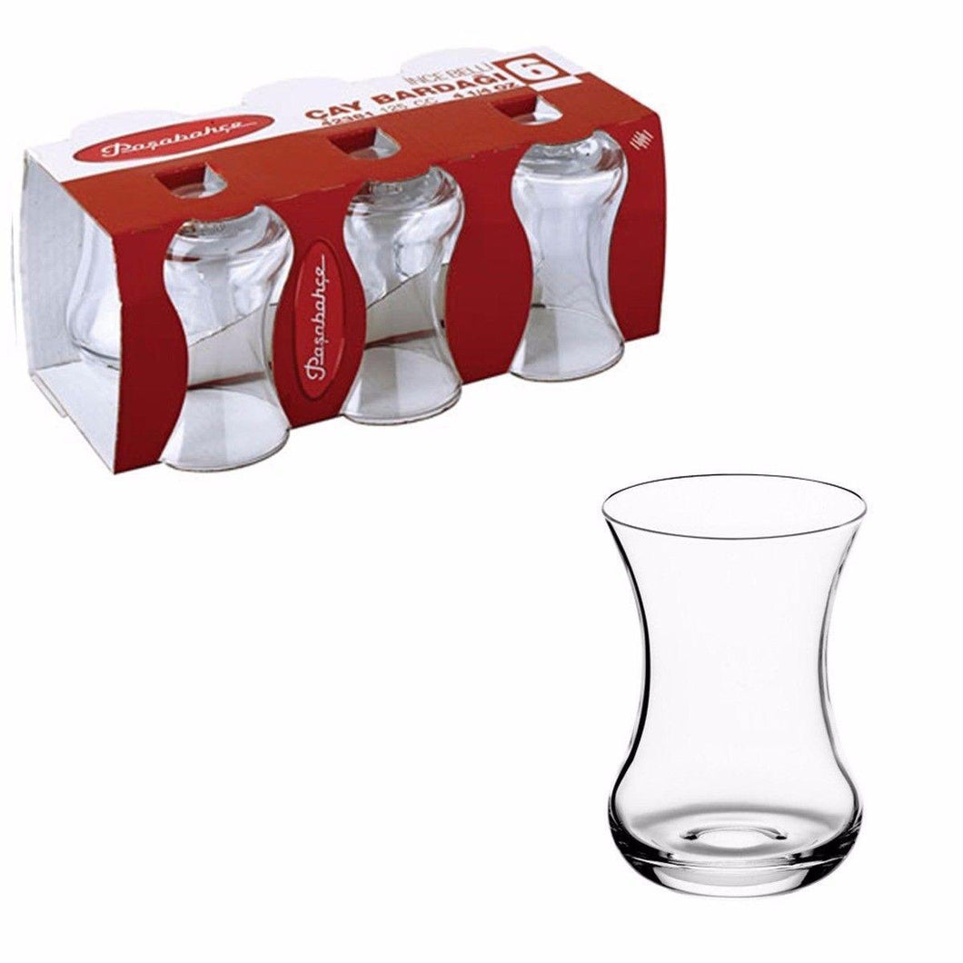 Pack Of 6 Incebelli Tea Clear Glass Drinking Cups 4 1/4oz   7522 (Parcel Rate)